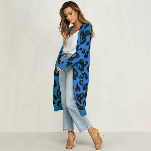 Sweaters - NEW Blue Leopard Print Long Knit Cardigan Duster